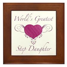 World's Greatest Step Daughter (Heart) Framed Tile