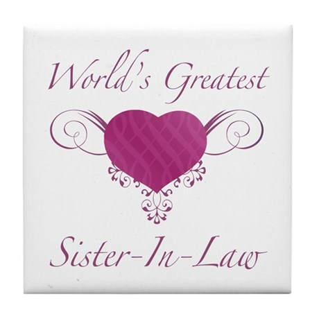 World's Greatest Sister-In-Law (Heart) Tile Coaste