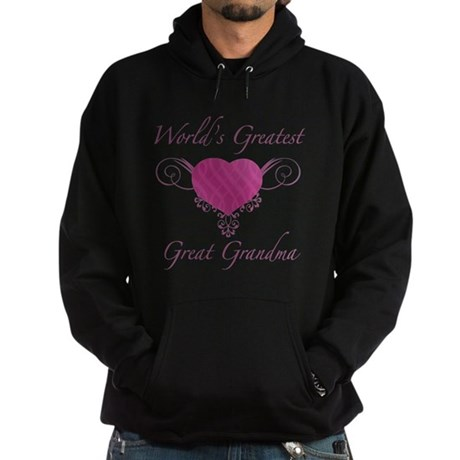 World's Greatest Great Grandma (Heart) Hoodie (dar