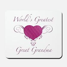 World's Greatest Great Grandma (Heart) Mousepad