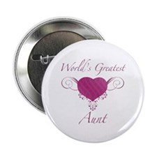 """World's Greatest Aunt (Heart) 2.25"""" Button (10 pac"""