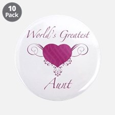 """World's Greatest Aunt (Heart) 3.5"""" Button (10 pack"""