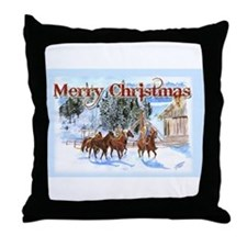 Riding Home for Christmas Throw Pillow