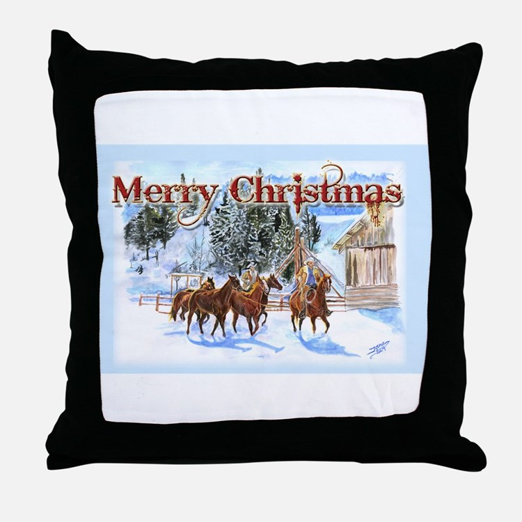 riding home for christmas throw pillow - Christmas Decorative Pillows