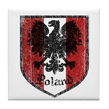 Vintage Poland Crest Tile Coaster