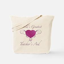 World's Greatest Teacher's Aid (Heart) Tote Bag