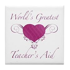 World's Greatest Teacher's Aid (Heart) Tile Coaste