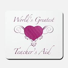 World's Greatest Teacher's Aid (Heart) Mousepad