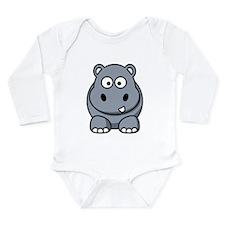 Cute Hippo Long Sleeve Infant Bodysuit