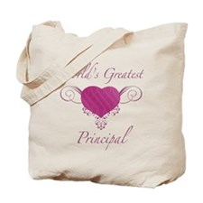 World's Greatest Principal (Heart) Tote Bag
