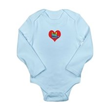 I Love Mom in Little Heart Long Sleeve Infant Body