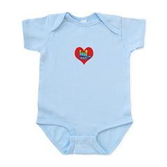 I Love Mom in Little Heart Infant Bodysuit