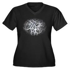 Ghost Tree Women's Plus Size V-Neck Dark T-Shirt