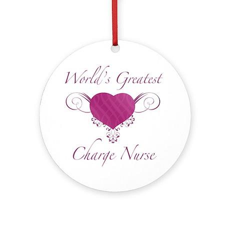 World's Greatest Charge Nurse (Heart) Ornament (Ro