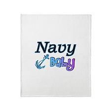 Navy Baby blue anchor Throw Blanket