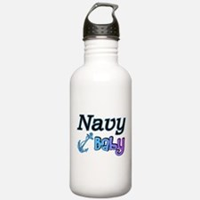 Navy Baby blue anchor Water Bottle