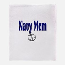 Navy Mom with anchor Throw Blanket