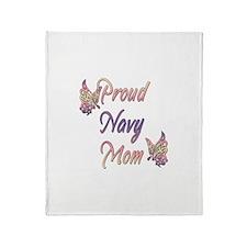 Proud Navy Mom Throw Blanket
