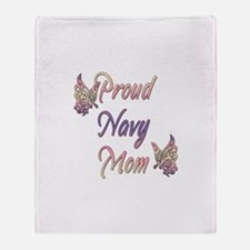 Proud Navy Mom Throw Blanket
