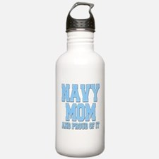 Navy Mom and Proud of it Water Bottle