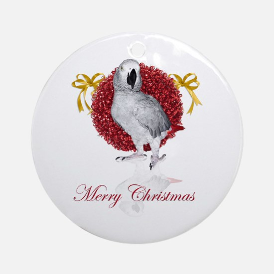 african grey parrot holiday Ornament (Round)
