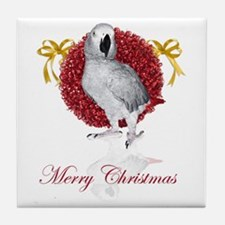 african grey parrot holiday Tile Coaster