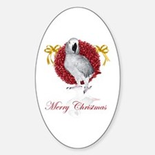 african grey parrot holiday Sticker (Oval)