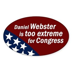 Daniel Webster is Too Extreme sticker