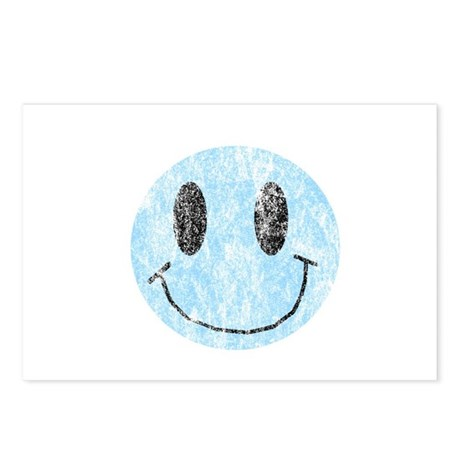 Vintage Blue Smiley 1 Postcards (Package of 8)