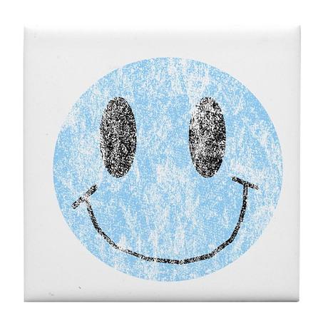 Vintage Blue Smiley 1 Tile Coaster