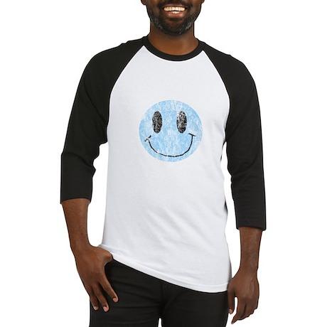 Vintage Blue Smiley 1 Baseball Jersey