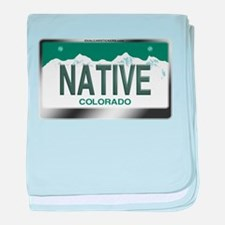 """NATIVE"" Colorado License Plate baby blanket"