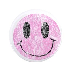 """Vintage Pink Smiley 1 3.5"""" Button"""