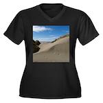 Pacific Dune Scene Women's Plus Size V-Neck Dark T