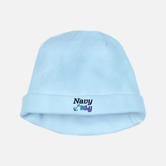 Navy Baby blue anchor baby hat