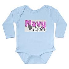 Navy Sister Long Sleeve Infant Bodysuit