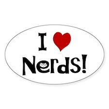 I Love Nerds Oval Bumper Stickers