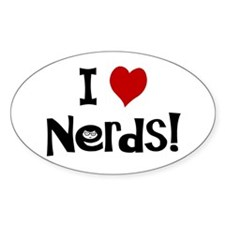 I Love Nerds Oval Stickers