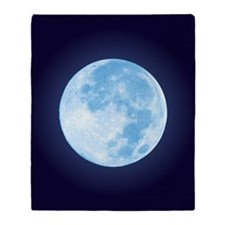 Blue Full Moon Throw Blanket (2-sided)