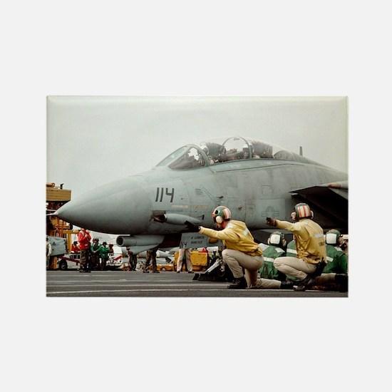 F14B Tomcat From the USS Kitt Rectangle Magnet