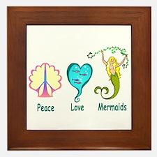 Peace,Luv,Mermaids Framed Tile