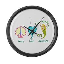 Peace,Luv,Mermaids Large Wall Clock