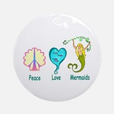 Peace,Luv,Mermaids Ornament (Round)