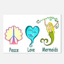 Peace,Luv,Mermaids Postcards (Package of 8)