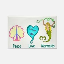 Peace,Luv,Mermaids Rectangle Magnet