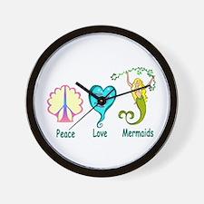 Peace,Luv,Mermaids Wall Clock