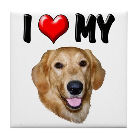 I Love My Golden Retriever 2 Tile Coaster