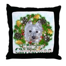 Merry Christmas Westie 2 Throw Pillow
