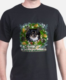 Merry Christmas Pekingnese Black T-Shirt