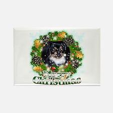 Merry Christmas Pekingnese Black Rectangle Magnet